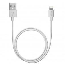 Кабель для Apple Lightning MFI Deppa 1,2м алюминий/нейлон серебристый (72187)