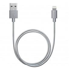 Кабель для Apple Lightning MFI Deppa 1,2м алюминий/нейлон серый
