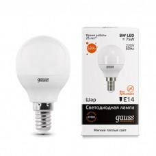 Светодиодная лампа Gauss Elementary LED Globe E14 8W 3000K 53118