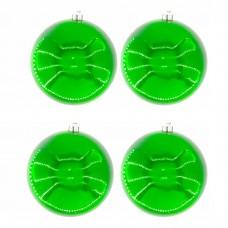 Нaбoр плacтикoвых шaров Snowmen 4шт d=10см в пакете зеленый ЕК0022